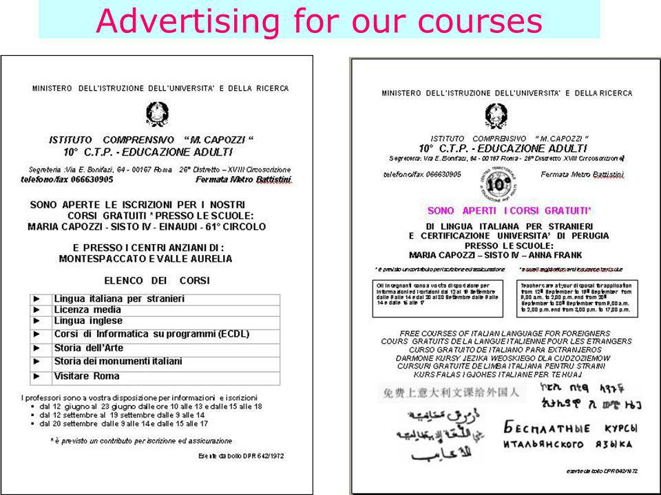 Advertising for our courses