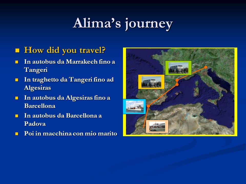 Alimas journey How did you travel. How did you travel.