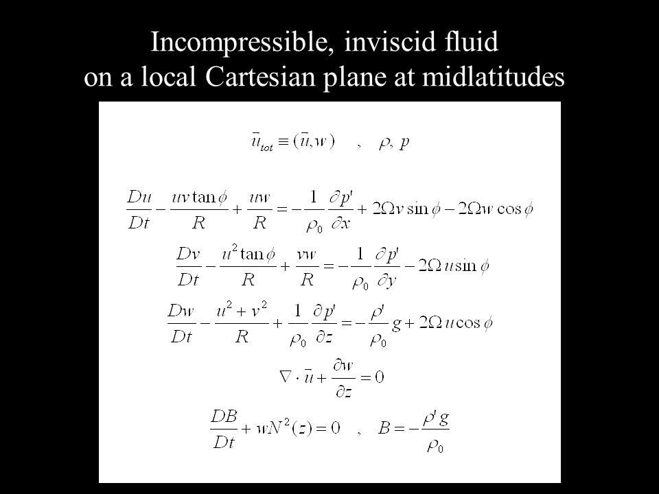 Incompressible, inviscid fluid on a local Cartesian plane at midlatitudes