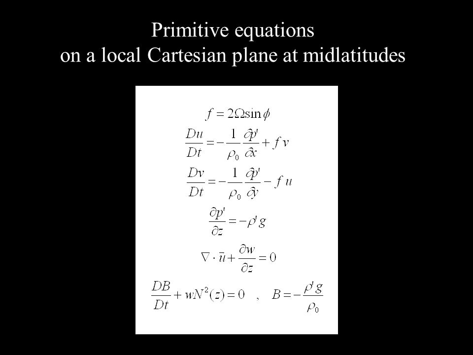 Primitive equations on a local Cartesian plane at midlatitudes