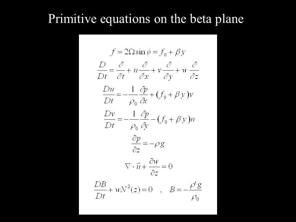 Primitive equations on the beta plane