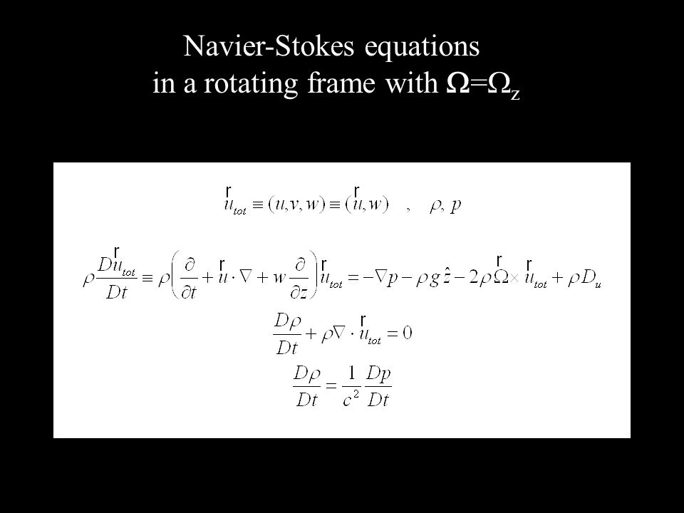 Navier-Stokes equations in a rotating frame with = z