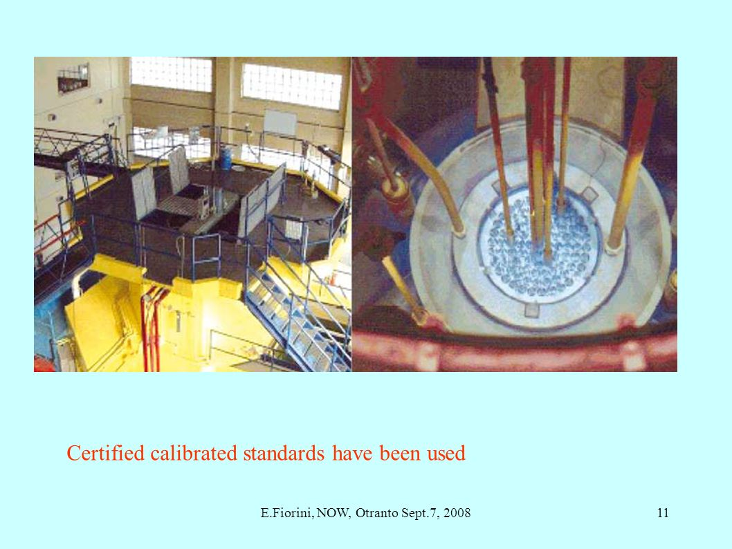 Certified calibrated standards have been used 11E.Fiorini, NOW, Otranto Sept.7, 2008