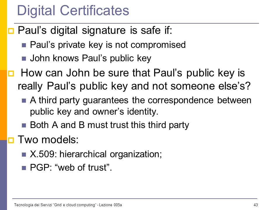 Tecnologia dei Servizi Grid e cloud computing - Lezione 005a 42 Digital Signature Paul calculates the hash of the message Paul encrypts the hash using his private key: the encrypted hash is the digital signature.
