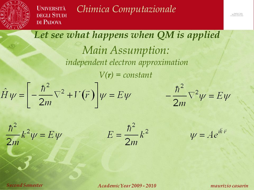 Chimica Computazionale Academic Year 2009 - 2010 maurizio casarin Second Semester Main Assumption: independent electron approximation V( r ) = constant Let see what happens when QM is applied