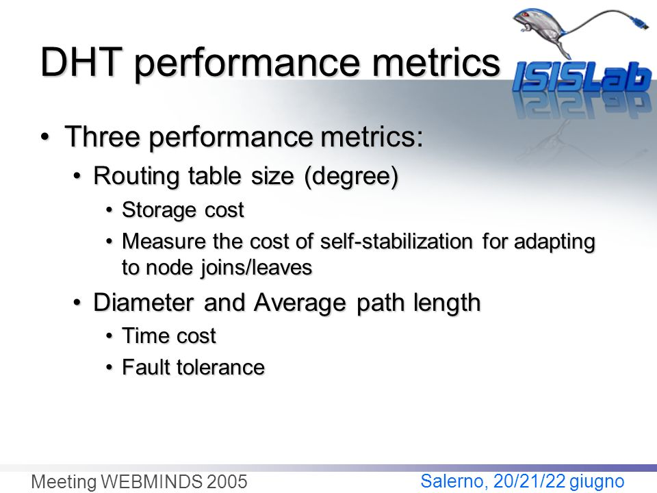 Salerno, 20/21/22 giugno Meeting WEBMINDS 2005 DHT performance metrics Three performance metrics:Three performance metrics: Routing table size (degree)Routing table size (degree) Storage costStorage cost Measure the cost of self-stabilization for adapting to node joins/leavesMeasure the cost of self-stabilization for adapting to node joins/leaves Diameter and Average path lengthDiameter and Average path length Time costTime cost Fault toleranceFault tolerance