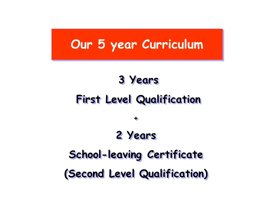 Our 5 year Curriculum 3 Years First Level Qualification 3 Years First Level Qualification + 2 Years School-leaving Certificate (Second Level Qualification) + 2 Years School-leaving Certificate (Second Level Qualification)
