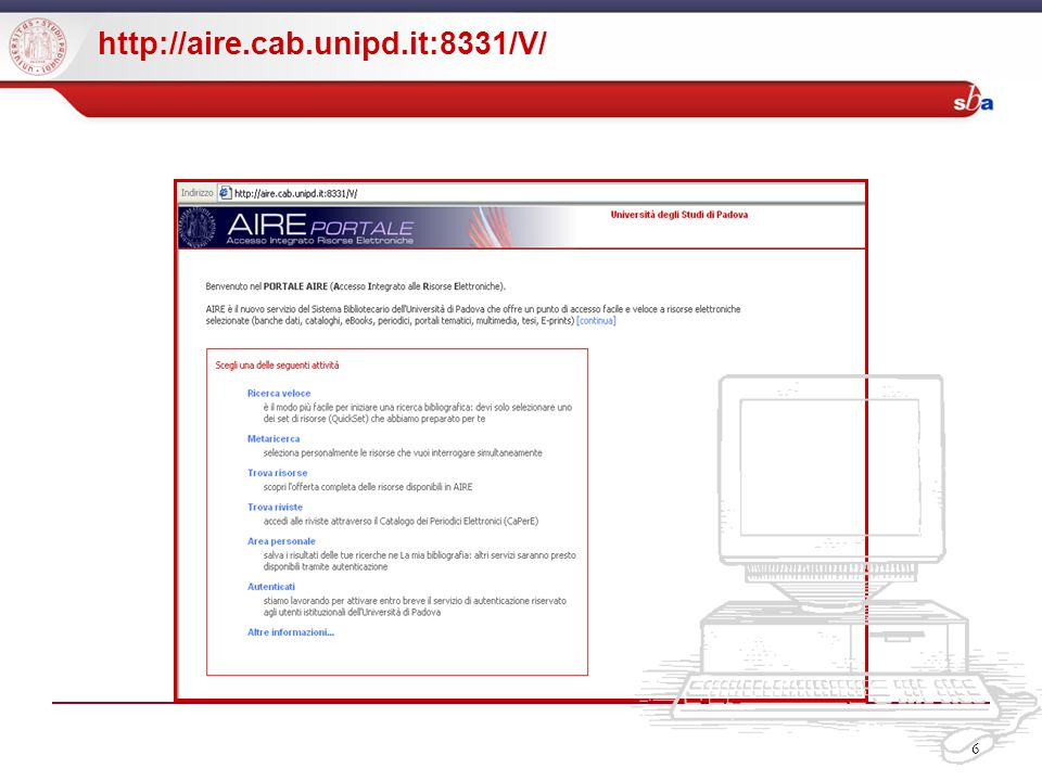6 http://aire.cab.unipd.it:8331/V/