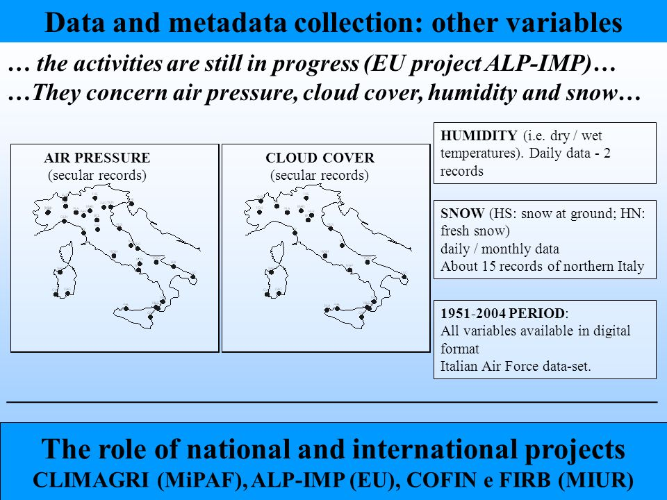 Data and metadata collection: other variables … the activities are still in progress (EU project ALP-IMP)… …They concern air pressure, cloud cover, humidity and snow… SNOW (HS: snow at ground; HN: fresh snow) daily / monthly data About 15 records of northern Italy HUMIDITY (i.e.