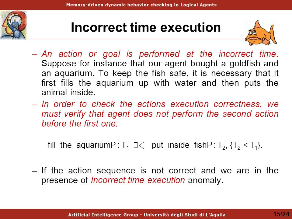 Incorrect time execution –An action or goal is performed at the incorrect time.