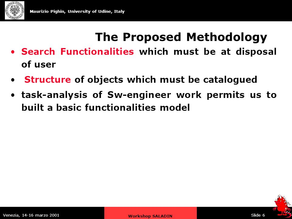 Maurizio Pighin, University of Udine, Italy Venezia, 14-16 marzo 2001 Workshop SALADIN Slide 6 The Proposed Methodology Search Functionalities which must be at disposal of user Structure of objects which must be catalogued task-analysis of Sw-engineer work permits us to built a basic functionalities model