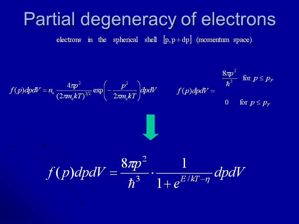 Partial degeneracy of electrons