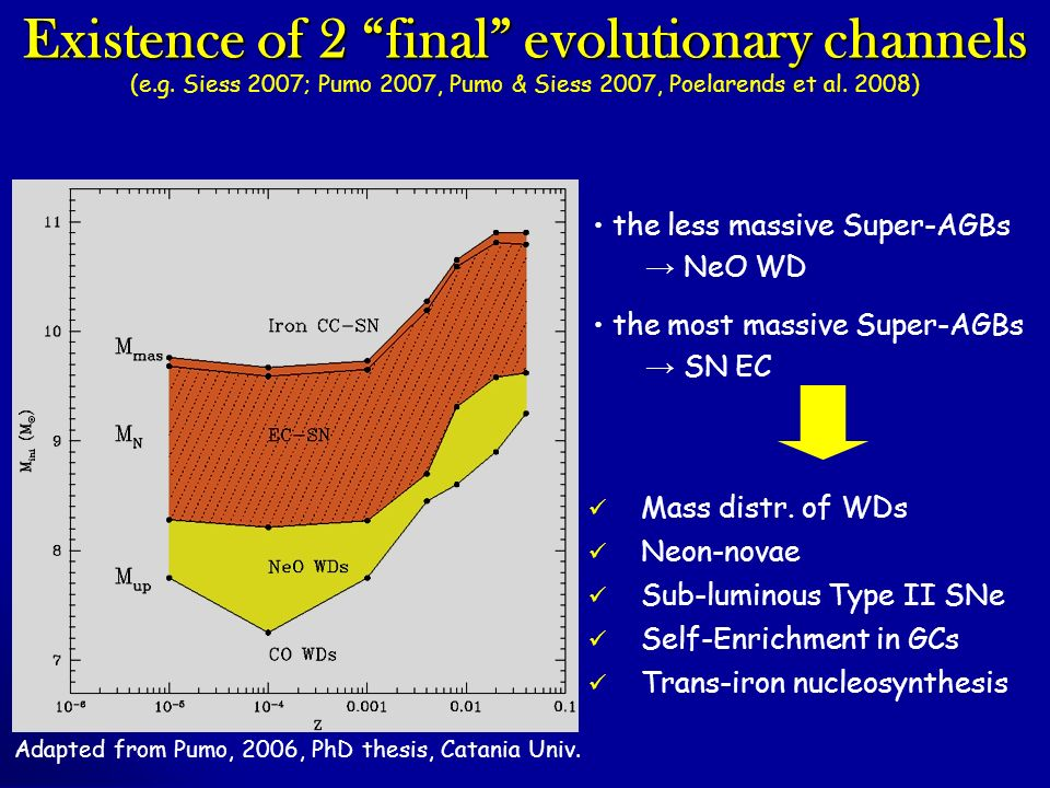 Existence of 2 final evolutionary channels (e.g.