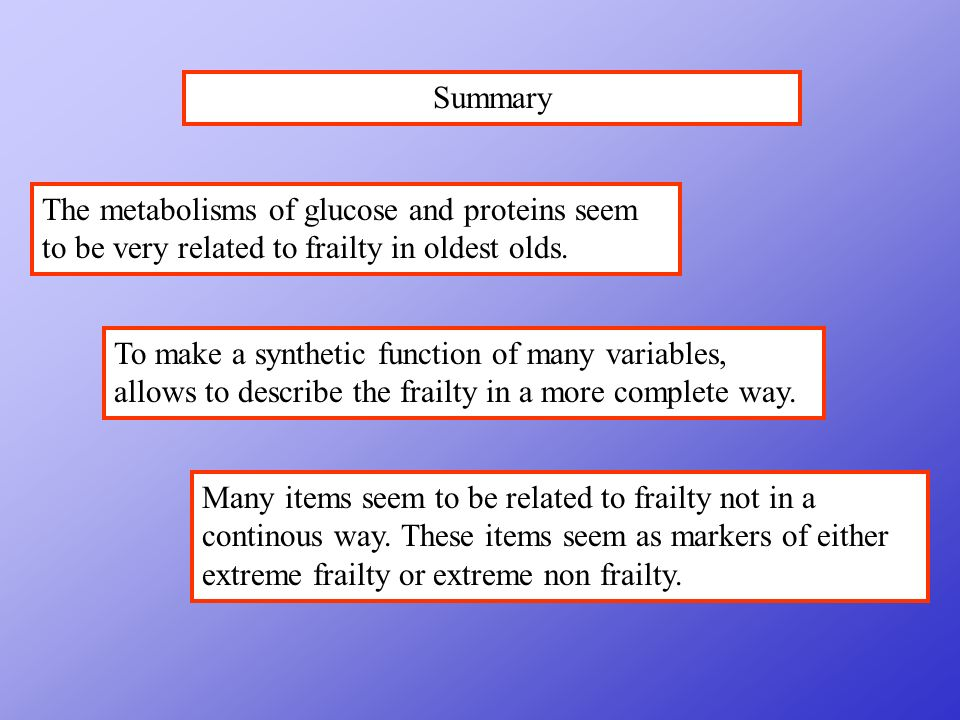 Summary To make a synthetic function of many variables, allows to describe the frailty in a more complete way.