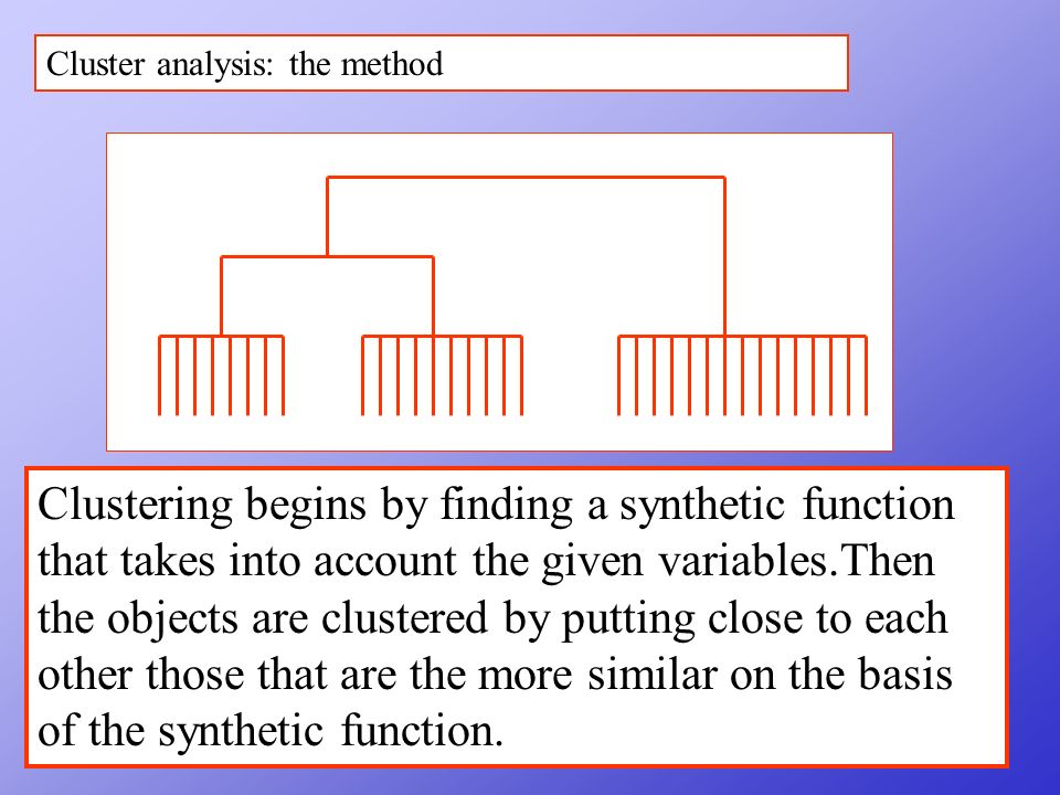 Cluster analysis: the method Clustering begins by finding a synthetic function that takes into account the given variables.Then the objects are clustered by putting close to each other those that are the more similar on the basis of the synthetic function.