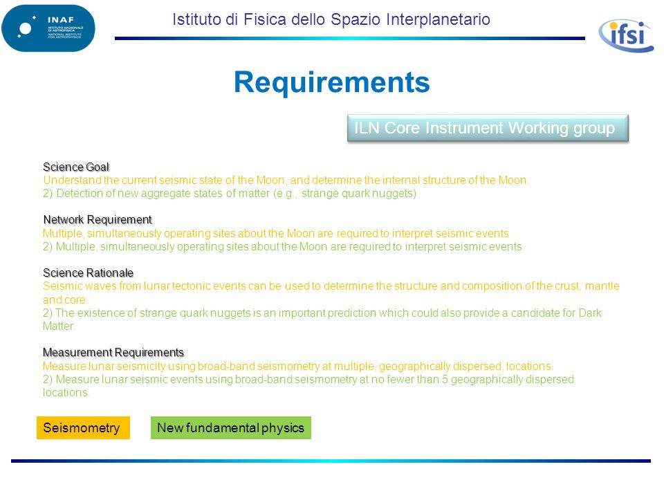 Istituto di Fisica dello Spazio Interplanetario Requirements Science Goal Understand the current seismic state of the Moon, and determine the internal structure of the Moon.