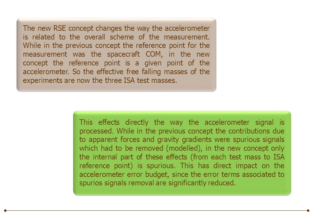 The new RSE concept changes the way the accelerometer is related to the overall scheme of the measurement.
