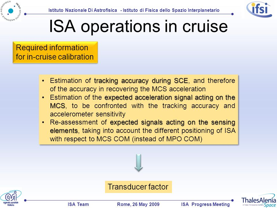 Istituto Nazionale Di Astrofisica - Istituto di Fisica dello Spazio Interplanetario ISA TeamISA Progress MeetingRome, 26 May 2009 ISA operations in cruise Required information for in-cruise calibration tracking accuracy during SCEEstimation of tracking accuracy during SCE, and therefore of the accuracy in recovering the MCS acceleration expected acceleration signal acting on the MCSEstimation of the expected acceleration signal acting on the MCS, to be confronted with the tracking accuracy and accelerometer sensitivity expected signals acting on the sensing elementsRe-assessment of expected signals acting on the sensing elements, taking into account the different positioning of ISA with respect to MCS COM (instead of MPO COM) tracking accuracy during SCEEstimation of tracking accuracy during SCE, and therefore of the accuracy in recovering the MCS acceleration expected acceleration signal acting on the MCSEstimation of the expected acceleration signal acting on the MCS, to be confronted with the tracking accuracy and accelerometer sensitivity expected signals acting on the sensing elementsRe-assessment of expected signals acting on the sensing elements, taking into account the different positioning of ISA with respect to MCS COM (instead of MPO COM) Transducer factor