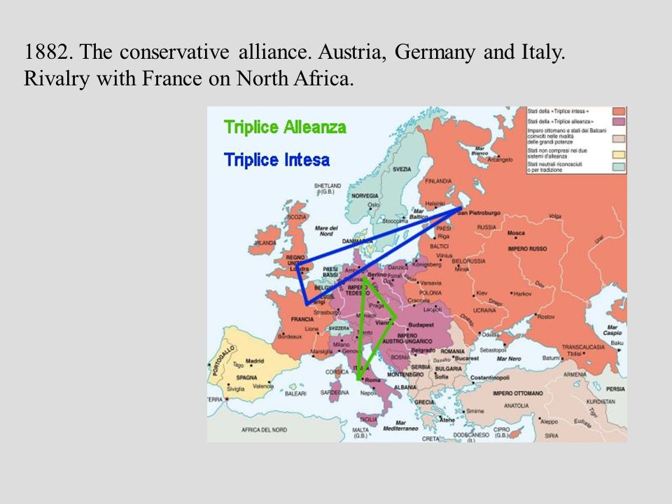 1882 1882. The conservative alliance. Austria, Germany and Italy.