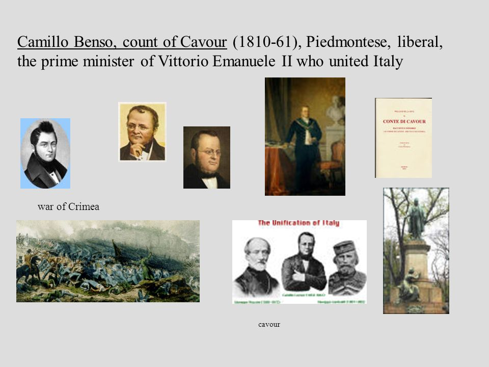 cavour Camillo Benso, count of Cavour (1810-61), Piedmontese, liberal, the prime minister of Vittorio Emanuele II who united Italy war of Crimea