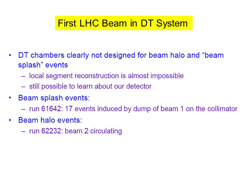 First LHC Beam in DT System