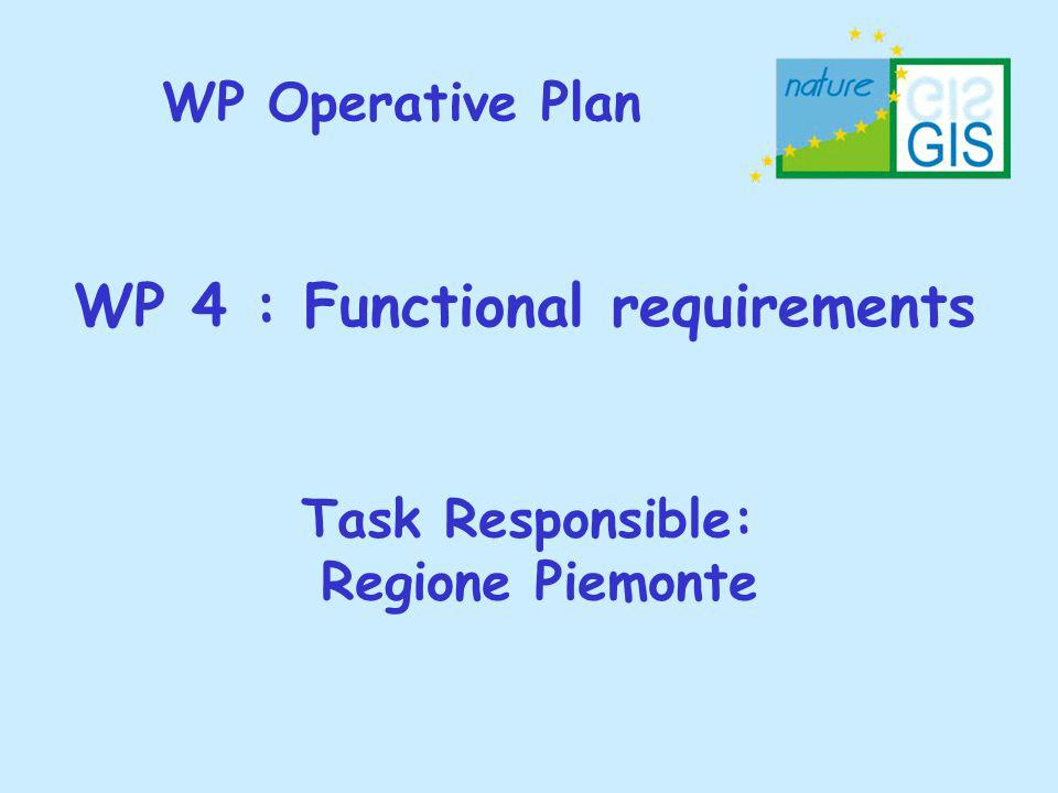 WP Operative Plan WP 4 : Functional requirements Task Responsible: Regione Piemonte