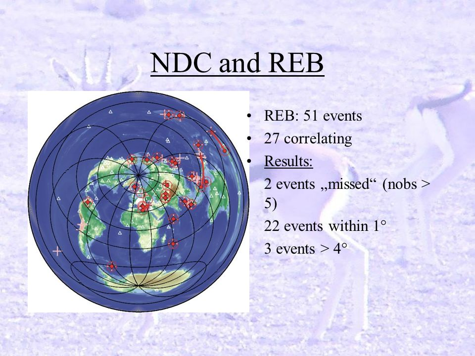 NDC and REB REB: 51 events 27 correlating Results: 2 events missed (nobs > 5) 22 events within 1° 3 events > 4°