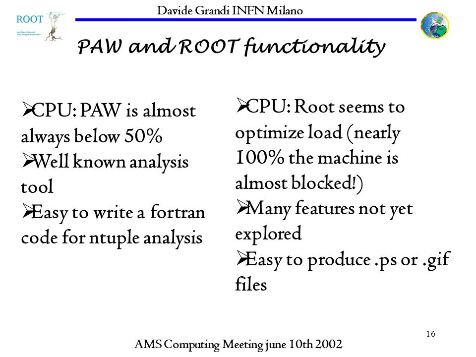 16 PAW and ROOT functionality AMS Computing Meeting june 10th 2002 Davide Grandi INFN Milano CPU: PAW is almost always below 50% Well known analysis tool Easy to write a fortran code for ntuple analysis CPU: Root seems to optimize load (nearly 100% the machine is almost blocked!) Many features not yet explored Easy to produce.ps or.gif files