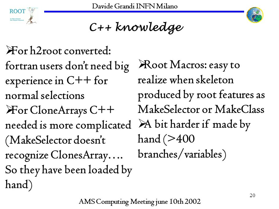 20 C++ knowledge AMS Computing Meeting june 10th 2002 Davide Grandi INFN Milano For h2root converted: fortran users dont need big experience in C++ for normal selections For CloneArrays C++ needed is more complicated (MakeSelector doesnt recognize ClonesArray….
