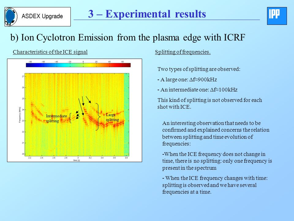 3 – Experimental results b) Ion Cyclotron Emission from the plasma edge with ICRF Characteristics of the ICE signal ~28MHz~28MHz Splitting of frequencies.