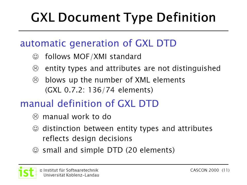 © Institut für Softwaretechnik Universität Koblenz-Landau CASCON 2000 (11) GXL Document Type Definition automatic generation of GXL DTD follows MOF/XMI standard entity types and attributes are not distinguished blows up the number of XML elements (GXL 0.7.2: 136/74 elements) manual definition of GXL DTD manual work to do distinction between entity types and attributes reflects design decisions small and simple DTD (20 elements)