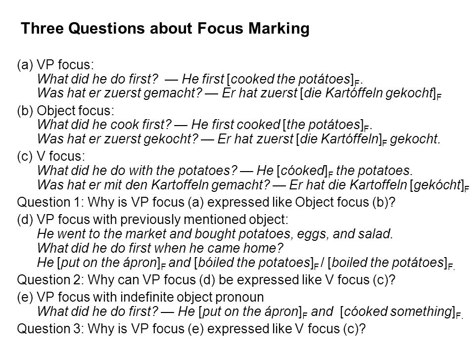 Three Questions about Focus Marking (a)VP focus: What did he do first.