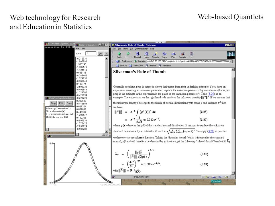 Web technology for Research and Education in Statistics Web-based Quantlets