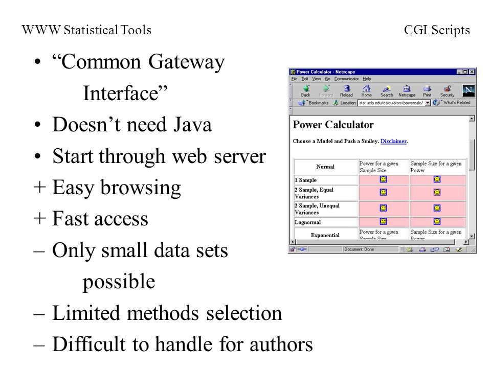 Common Gateway Interface Doesnt need Java Start through web server +Easy browsing +Fast access –Only small data sets possible –Limited methods selection –Difficult to handle for authors WWW Statistical ToolsCGI Scripts