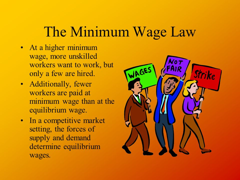 The Minimum Wage Law At a higher minimum wage, more unskilled workers want to work, but only a few are hired.