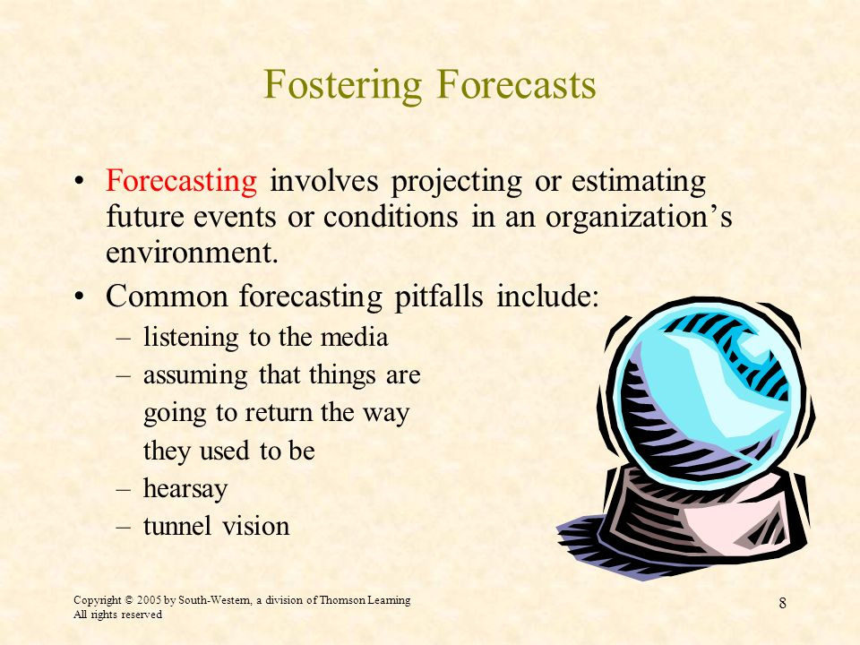 Copyright © 2005 by South-Western, a division of Thomson Learning All rights reserved 8 Fostering Forecasts Forecasting involves projecting or estimating future events or conditions in an organizations environment.
