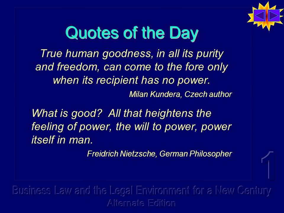 Quotes of the Day True human goodness, in all its purity and freedom, can come to the fore only when its recipient has no power.