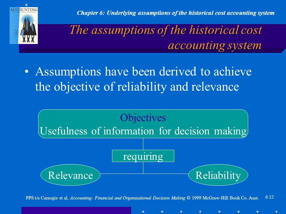Chapter 6: Underlying assumptions of the historical cost accounting system 6.12 PPS t/a Carnegie et al; Accounting: Financial and Organisational Decision Making © 1999 McGraw-Hill Book Co.