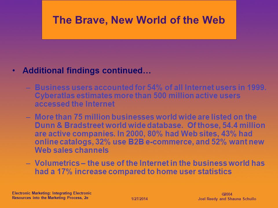 Electronic Marketing: Integrating Electronic Resources into the Marketing Process, 2e 1/27/2014 2004 Joel Reedy and Shauna Schullo The Brave, New World of the Web Additional findings continued… –Business users accounted for 54% of all Internet users in 1999.