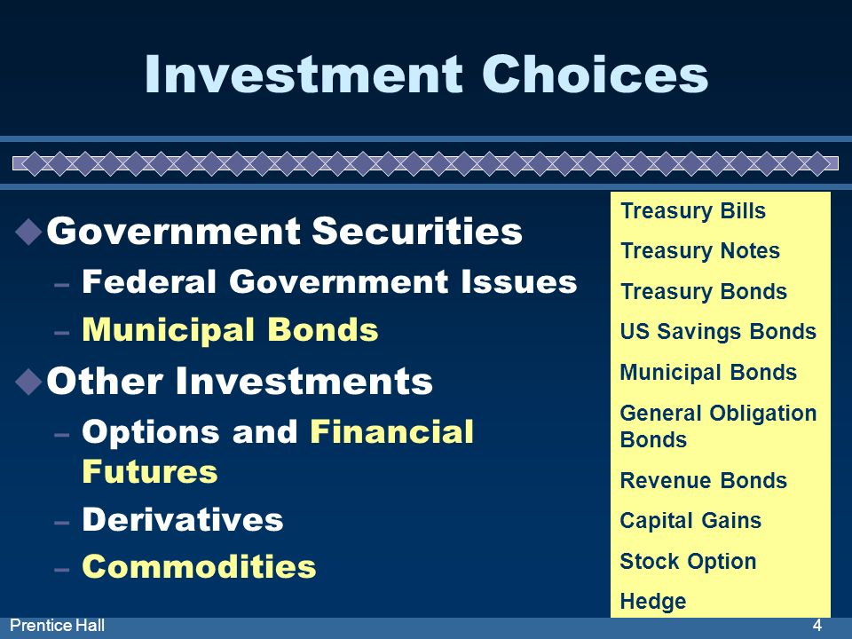 4Prentice Hall Investment Choices Government Securities – Federal Government Issues – Municipal Bonds Other Investments – Options and Financial Futures – Derivatives – Commodities Treasury Bills Treasury Notes Treasury Bonds US Savings Bonds Municipal Bonds General Obligation Bonds Revenue Bonds Capital Gains Stock Option Hedge