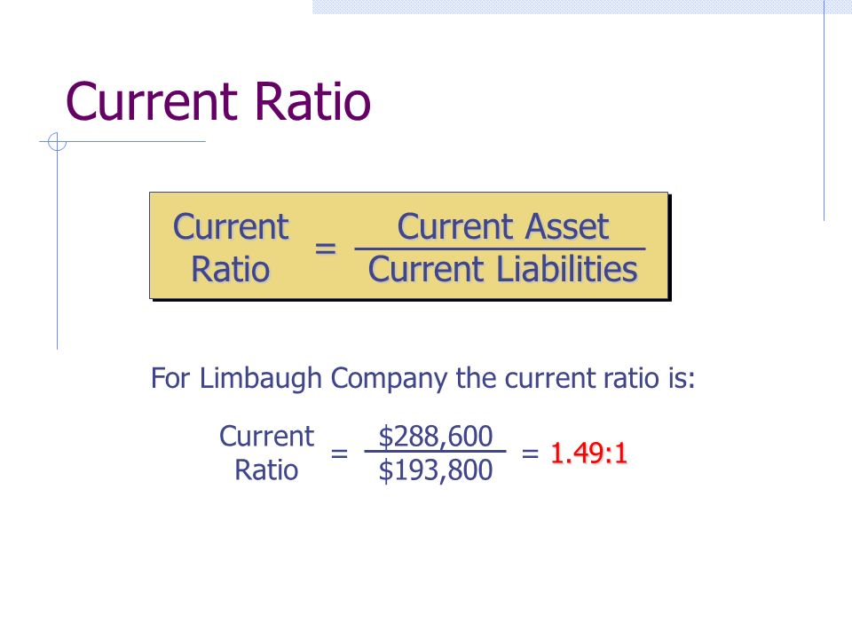 Current Ratio = Current Asset Current Liabilities For Limbaugh Company the current ratio is: Current Ratio = $288,600 $193,800 1.49:1 = 1.49:1