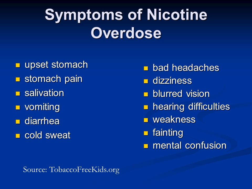 Symptoms of Nicotine Overdose upset stomach upset stomach stomach pain stomach pain salivation salivation vomiting vomiting diarrhea diarrhea cold sweat cold sweat bad headaches dizziness blurred vision hearing difficulties weakness fainting mental confusion Source: TobaccoFreeKids.org
