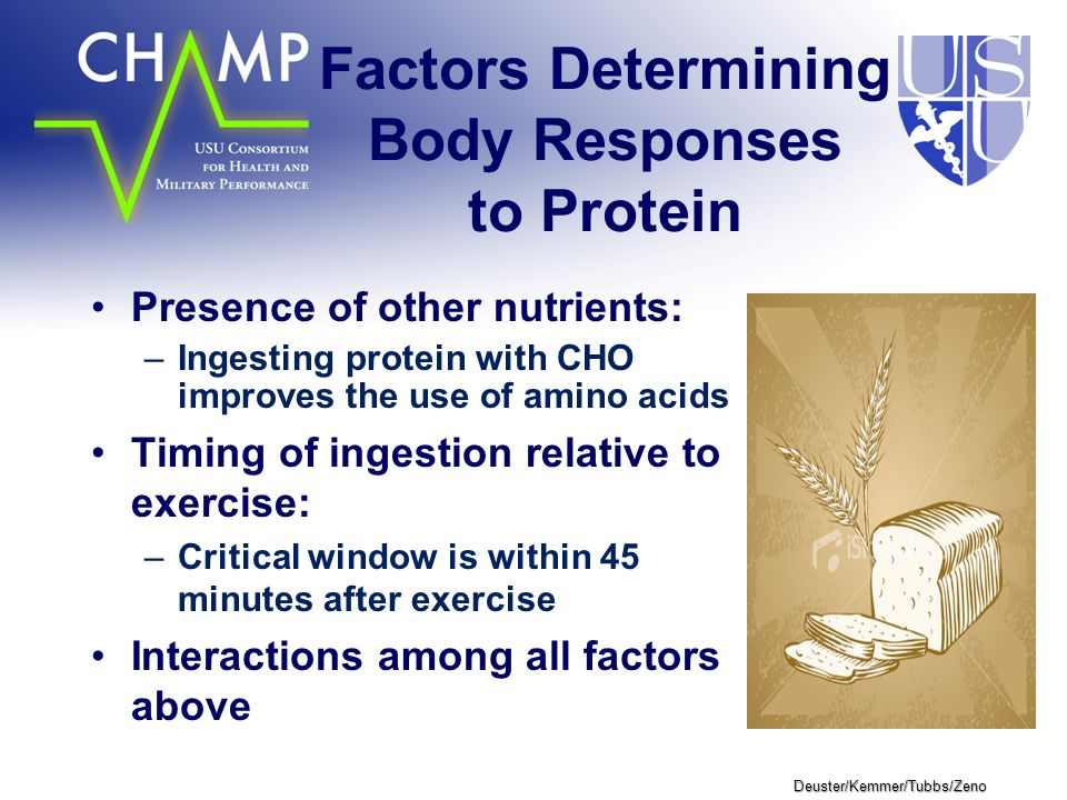 Deuster/Kemmer/Tubbs/Zeno Factors Determining Body Responses to Protein Presence of other nutrients: –Ingesting protein with CHO improves the use of amino acids Timing of ingestion relative to exercise: –Critical window is within 45 minutes after exercise Interactions among all factors above