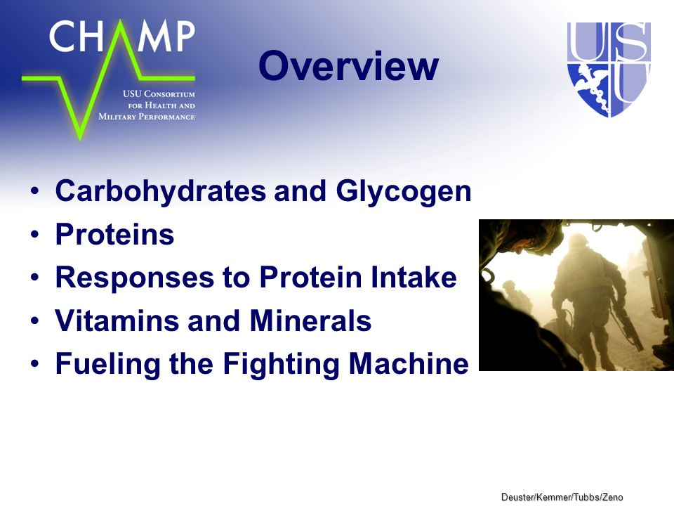 Deuster/Kemmer/Tubbs/Zeno Overview Carbohydrates and Glycogen Proteins Responses to Protein Intake Vitamins and Minerals Fueling the Fighting Machine