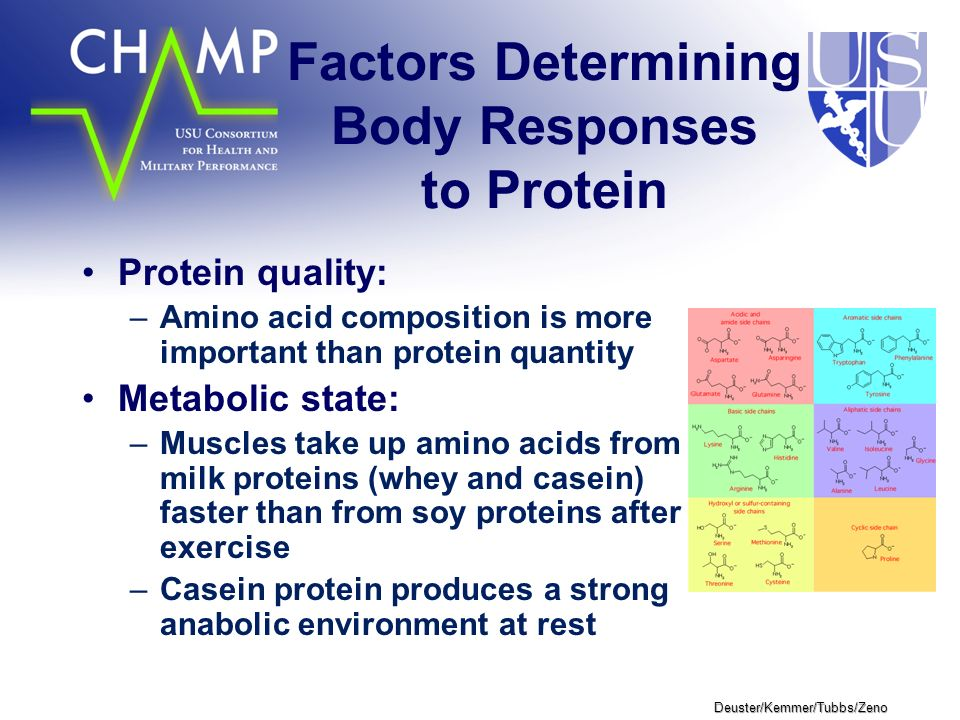 Deuster/Kemmer/Tubbs/Zeno Factors Determining Body Responses to Protein Protein quality: –Amino acid composition is more important than protein quantity Metabolic state: –Muscles take up amino acids from milk proteins (whey and casein) faster than from soy proteins after exercise –Casein protein produces a strong anabolic environment at rest