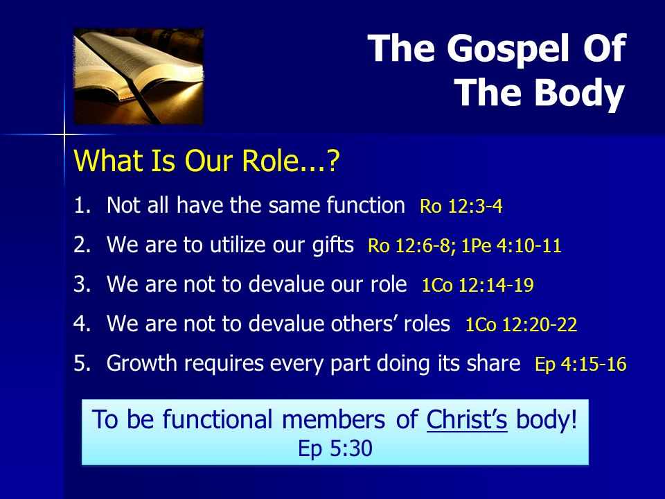 What Is Our Role.... 1. 1.Not all have the same function Ro 12:3-4 2.