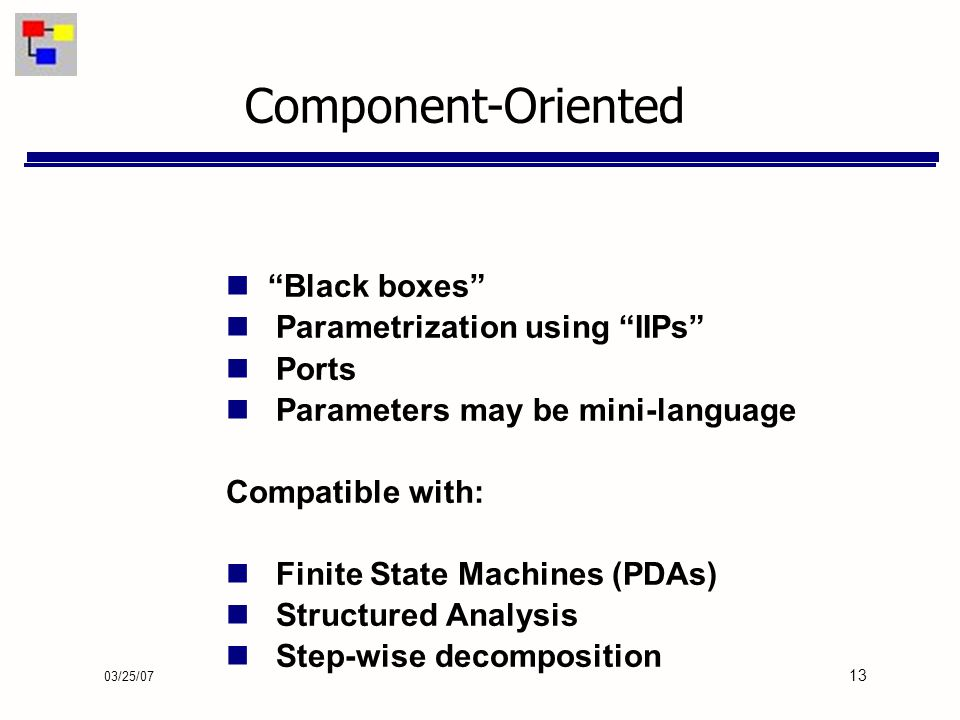03/25/07 13 Black boxes Parametrization using IIPs Ports Parameters may be mini-language Compatible with: Finite State Machines (PDAs) Structured Analysis Step-wise decomposition Component-Oriented