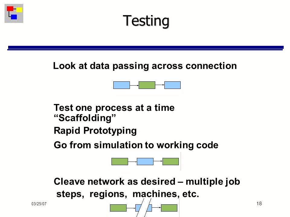 03/25/07 18 Testing Look at data passing across connection Test one process at a time Scaffolding Rapid Prototyping Go from simulation to working code Cleave network as desired – multiple job steps, regions, machines, etc.