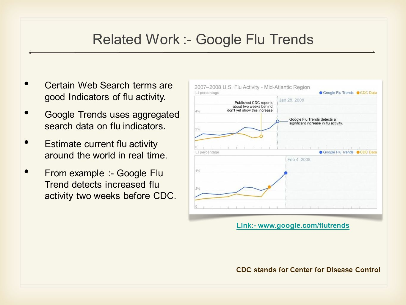 Related Work :- Google Flu Trends Certain Web Search terms are good Indicators of flu activity.