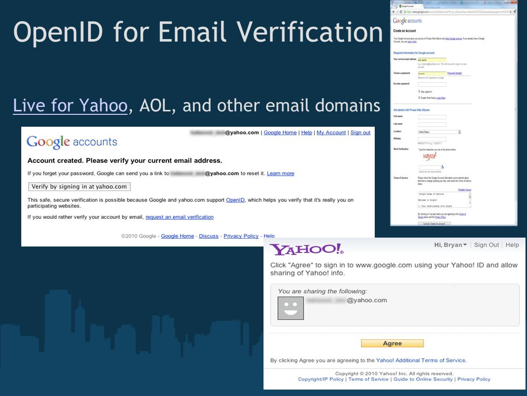 OpenID for Email Verification Live for YahooLive for Yahoo, AOL, and other email domains